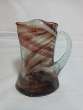"MURANO ART GLASS CREAMER 4.5"" Cruet Mini Pitcher End of Day Swirl Purple White"