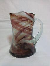 "Murano Art Glass 4.5"" Cruet Creamer Mini Pitcher End of Day Swirl Purple White"
