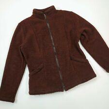 prAna Brown Fuzzy Sweater Knit Fleece Jacket Womens Sz.Large Full-Zip