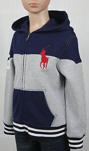 Children POLO Ralph Lauren Grey Navy Blue Striped Big Pony Hoodie NWT $60