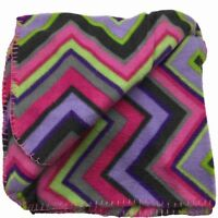 Basic Soft Fleece Throw Blanket with Purple & Pink Stripes - 50x60