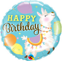 "BIRTHDAY LLAMA FOIL BALLOON 18"" BIRTHDAY PARTY SUPPLIES"