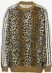 Adidas Crew Sweatshirt Jumper Womens Leopard Print Brown Pullover Size 10