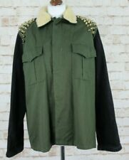 THE RAGGED PRIEST Olive Denim Sleeves Military Jacket Chest size 44""