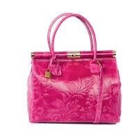 Italian fuchsia tooled calf leather satchel handbag; Vittoria Pacini