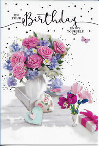 """OPEN FEMALE BIRTHDAY GREETING CARD 7""""X5"""" PINK AND PURPLE FLOWERS FREE P&P"""