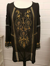 NEW - Krista Lee Black, Long Sleeve Tunic Top w/Embroidery and Crochet Inserts