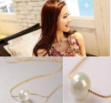 Single Pearls Chain Gold Necklace Delicate Elegant Bib Choker Statement Collar E