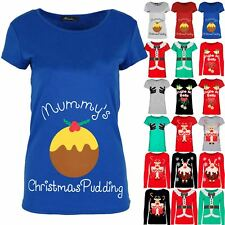 Ladies Xmas T Shirt Funny Mummy's Christmas Pudding Pregnant Womens Present Top