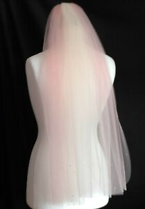 wedding veil blush pink and champagne 1 Tier crystal diamante elbow waist length