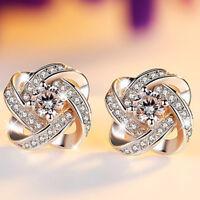 Womens Swirl Earrings Sterling Silver Plated Round Stud Studs Crystal Jewellery