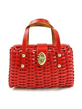 Basket Weave Handbag Red Vinyl Adorable Kitten Liner British Hong Kong Vintage