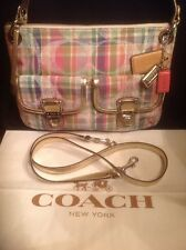 COACH 19610 Poppy Madras Tartan Plaid Pink Sequin Gold Crossbody Bag Tote EUC