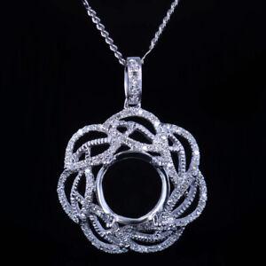 10K White Gold Oval 9x10mm Flower Natural SI/H Diamonds Fine Pendant Semi Mount