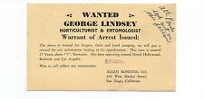 1939 Reward Postcard for Forgery for Horticulturist from San Diego CA