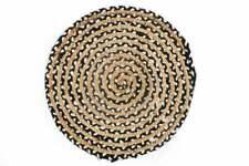 Braided Rug Jute Natural 100% Handmade Decor Round Black Area Floor Rug 9 X 9 Ft