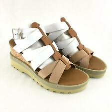 See by Chloe Womens Sandals Strappy Wedge Leather Buckle Brown White 38 US 8