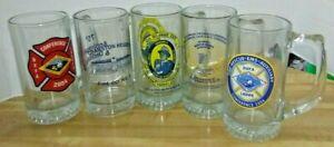 Lot of 5 Firemen's Commemorative Glass Mugs Delaware