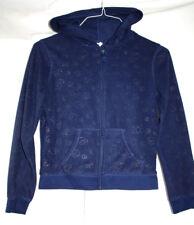 Old Navy Girls Teens XL 14 Blue Hoodie Fleece Silver Peace Signs Long Sleeve
