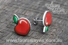 Apple Stud Earrings -Handmade Big Apple Quirky Fun Gift Unique I Love Jewellery