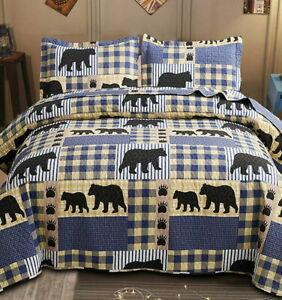 BLACK BEAR PAW 3pc King QUILT SET : BLUE BUFFALO CHECK LODGE CABIN PLAID COUNTRY