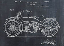 Framed Print - Patent of a Harley Motorcycle (Picture Poster Motorbike Bike Art)