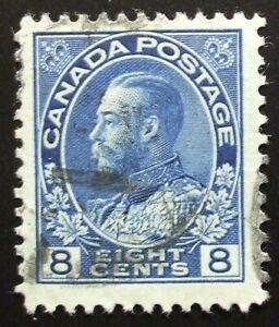 Scott Canada #115, 8cent King George V, used, Huge margins!