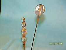 Vintage Lot Of 2 Hat Pins Stick Pins Crystals