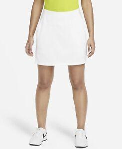 Nike Women's Dri Fit Flex Golf Skirt Statement Skort White Size 14 NWT $75 Plus