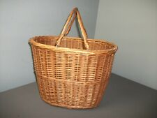 "Vintage Wicker Market Basket with Double Wicker Bale Handles - 12"" tall - 216"