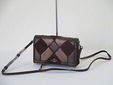 New Coach Leather Canyon Quilt Foldover Crossbody Oxblood Bronze 55975