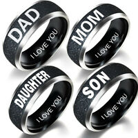 STYLISH MOM DAD DAUGHTER SON LETTERS BAND STAINLESS STEEL FAMILY MEMBER RING