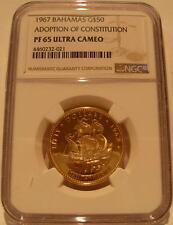 Bahamas 1967 Gold $50 NGC PF-65UC Adoption of New Constitution Santa Maria
