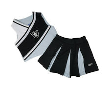 REEBOK Little Girls Cheerleader 2 piece Set Black Gray Oakland Raiders Outfit
