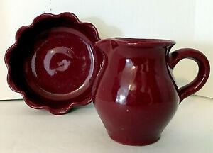 """2 pcs Vtg Bybee KY Art Pottery Burgundy 6"""" Scalloped Bowl & 4.5""""H Pitcher EUC"""