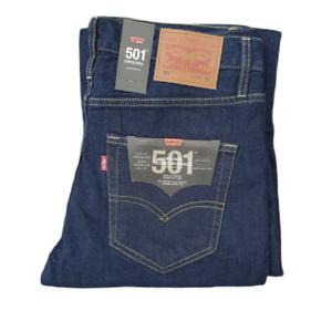 Genuine LEVIS Mens 501 ORIGINAL Regular Straight leg Dark blue Indigo rinse