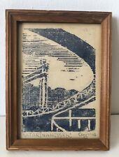 Vintage 1953 Mid-Century Katarinahissen Signed Conricus Wood Block Print Framed