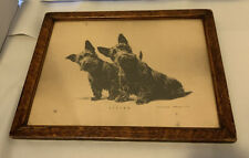 "Antique Morgan Dennis Print ""Listen"" Framed Scotty Dogs"