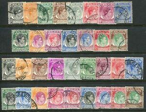 Singapore KGVI 1948-52 both perfs 1c-$5 SG 1-30 complete used (cat. £95)