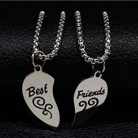 2 Stück Halsketten Best Friends Freundschafts Ketten Pink Facettenreich Herz PK1