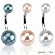Piercing de Ombligo Enganche Perla Blanco Antracita 1 pieza - 3 Colores Set
