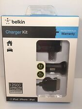 NEW Belkin Charger Kit iPod iPhone iPad 2.1 AMP 3 Ft 0.9m Home And Car