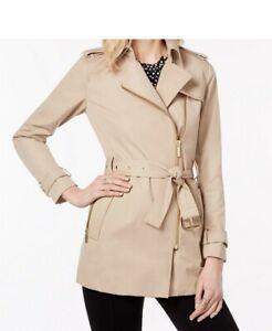 BNWT Michael Kors Belted Front-zip Women's Trench Coat Khaki Size XS/S RRP $150