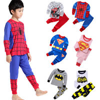 2Pcs Toddler Kids Boys Superhero Outfits Set Pajamas Sleepwear Pyjamas Nightwear