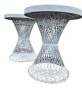 Vintage Russell Woodard Spun Fiberglass Patio Side Table Round Top Pair