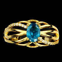 Oval Blue Apatite 7x5mm Cz 14k Yellow Gold Plate 925 Sterling Silver Ring Size 8