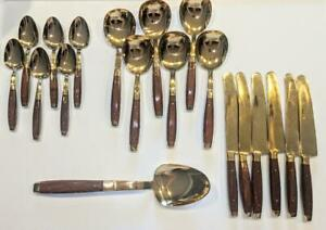 19 Piece Rosewood & Bronze Flatware, Thailand