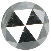 Natural Loose Diamond Black Grey Color Round Rose Cut I3 Clarity 0.61 Ct L5686