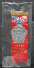 Vintage Exempt Fireman's Assn Trenton State Convention PA 1901 Pinback Ribbon
