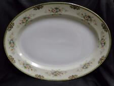 """Meito Floral with Green Trim, Gold Edge: Oval Serving Platter 16"""" x 11 3/4"""""""